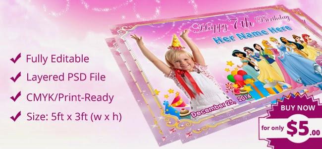 Birthday Party Tarpaulin PSD Template  Disney Princess
