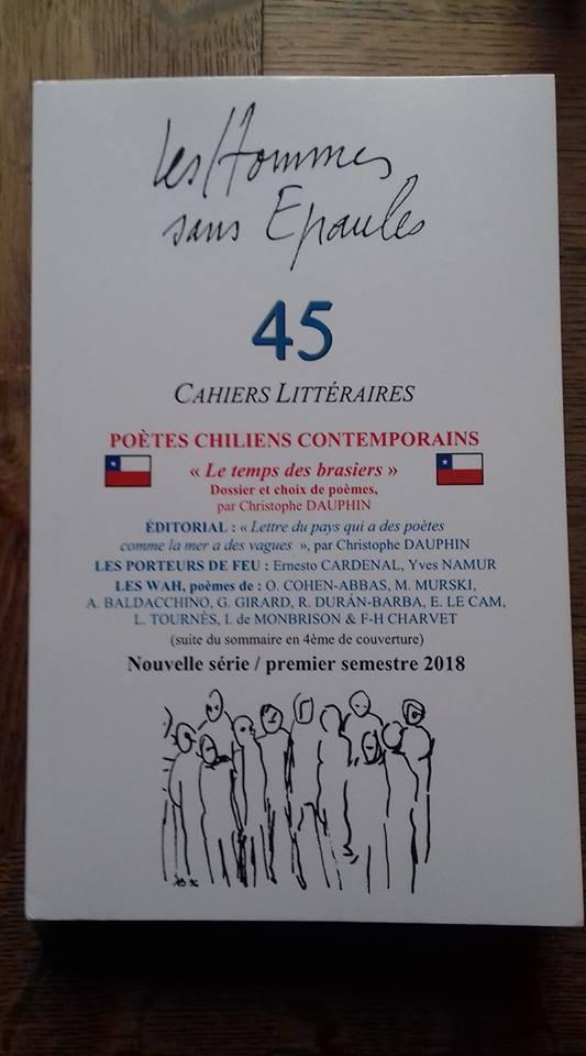 Parution du n° 45 http://www.leshommessansepaules.com/revue-Dossier___Poètes_chiliens_contemporains