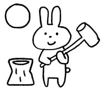 お月見とウサギのイラスト「餅つきうさぎ」 白黒線画