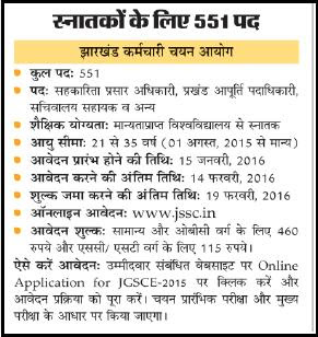 www.jssc.in | JSSC 551 Job Advertisement January 2016