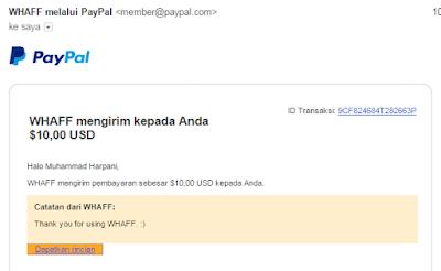 Bukti Pembayaran WHAFF via Email