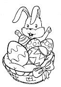 Dibujo de conejo de Pascua para colorear. Dibujo de Conejo en una canasta de . canasta de pascua