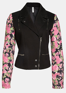 Mural Mixed Media Moto Jacket Pink
