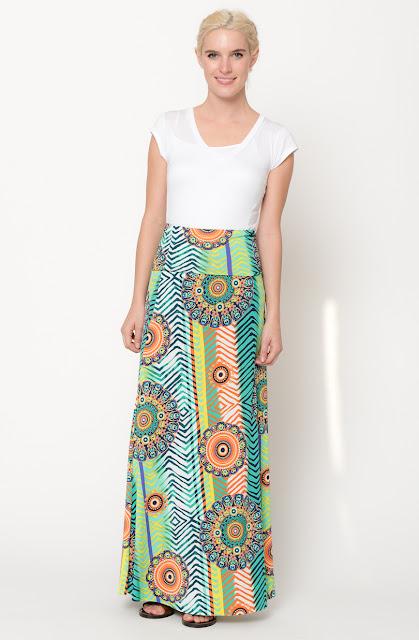 pink chevron maxi skirt