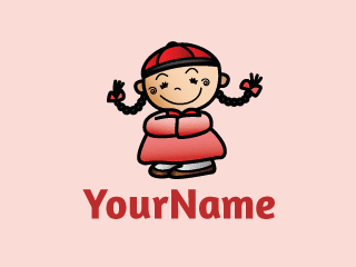 Chinese Child Girl Cartoon Mascot Logo