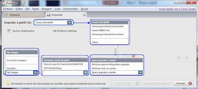 Definição de opções no Picasa - importar