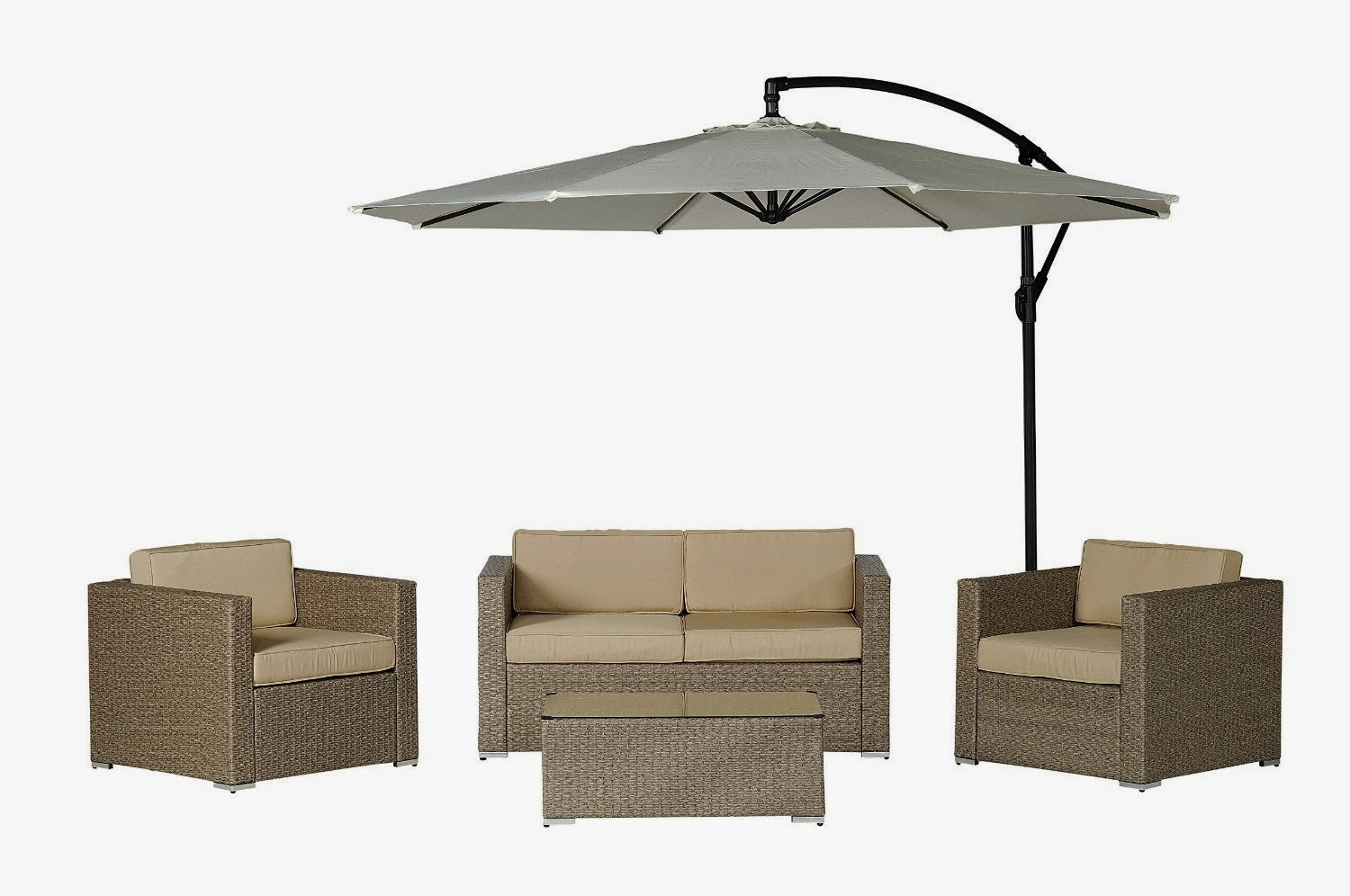 Description Patio Wicker Sofa Set (Free Cantilever Umbrella!)