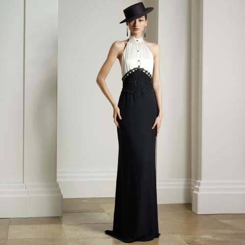 siyah beyaz abiye, siyah abiye, uzun abiye, gece elbisesi, kolsuz elbise