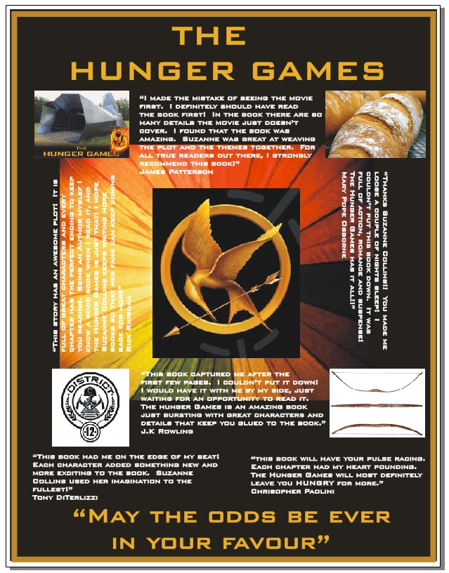 Delorme designs hunger games the game the 2nd part he did a poster and then a venn diagram comparing himself with peeta he totally rocked the poster ccuart Choice Image