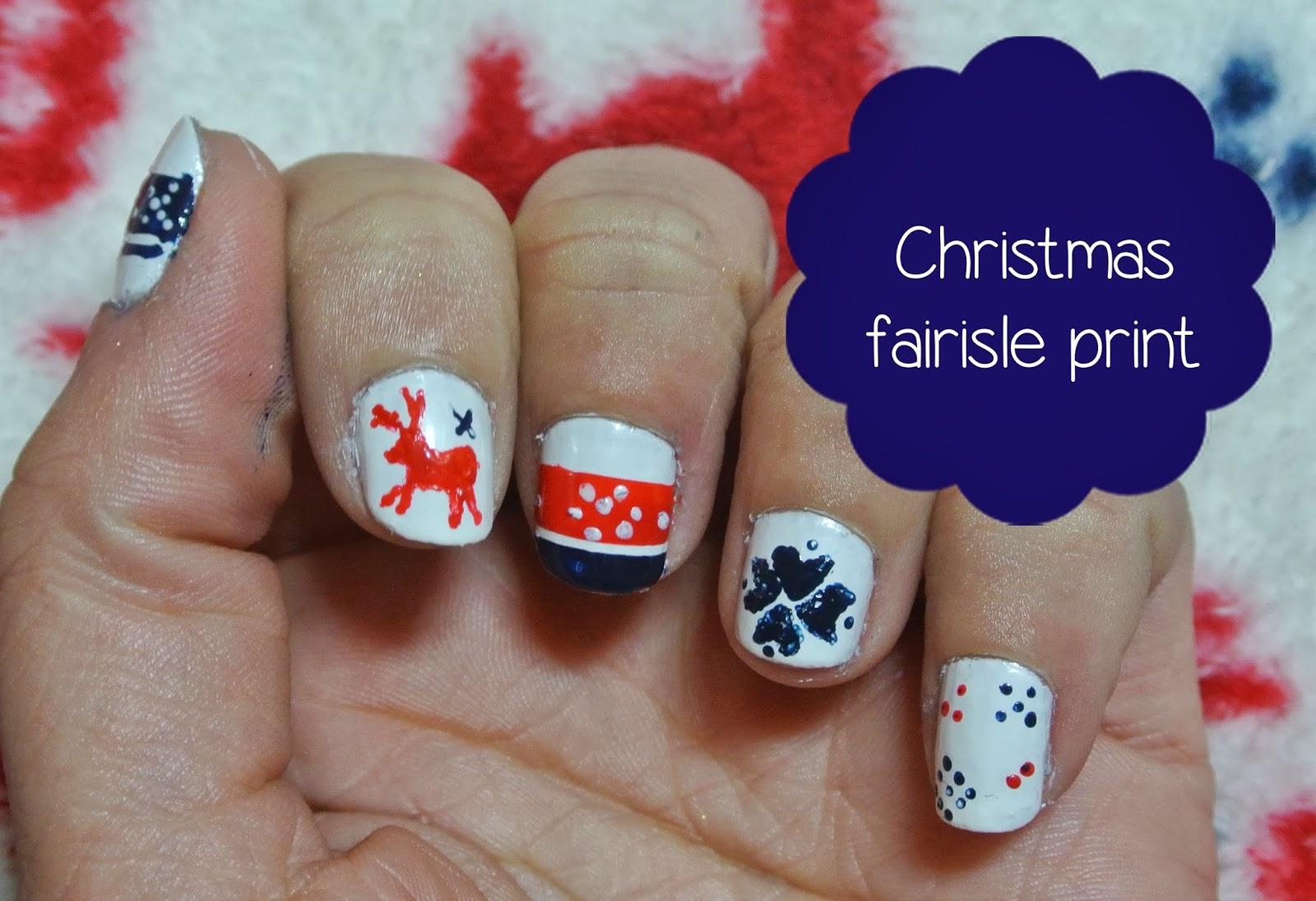 sunday nails #47 - christmas fairisle print • The Mini Mermaid