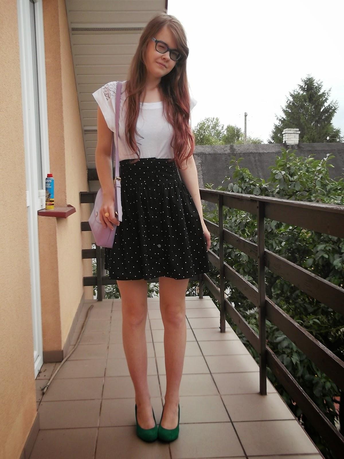 OOTD: lilowa torebka Tidestore +  spódnica w serduszka z sh