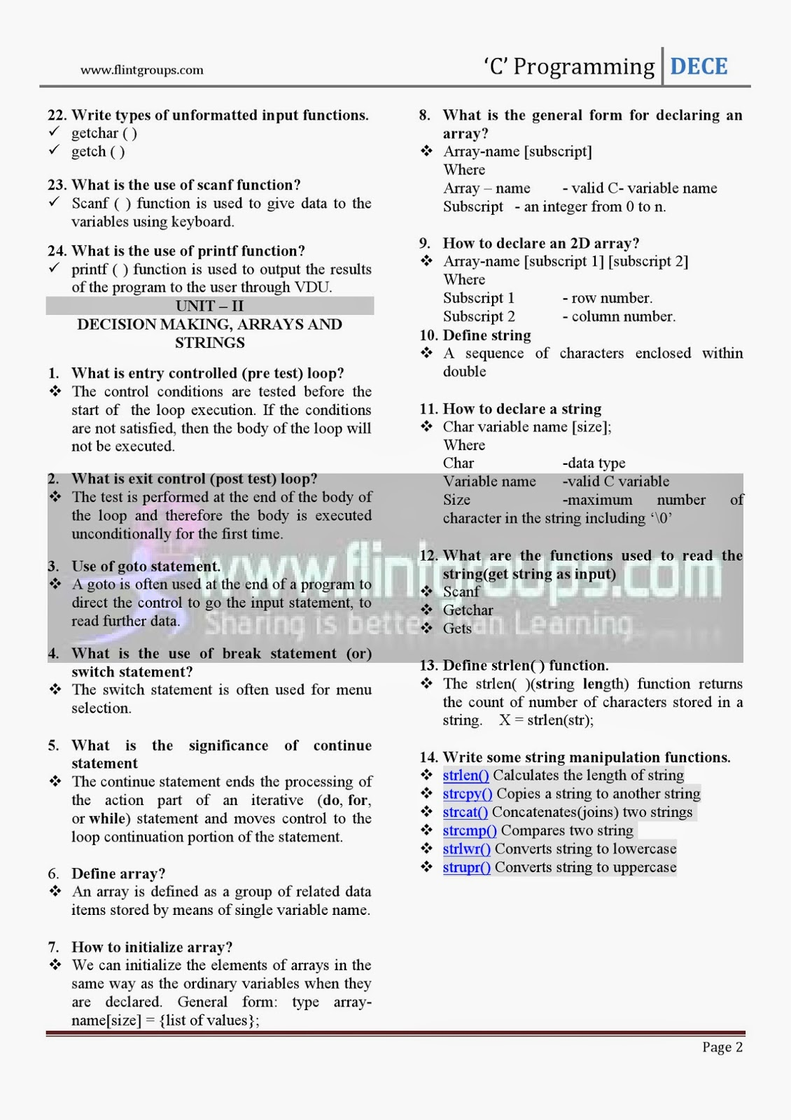 c programming one mark questions and answers for tamilnadu as pdf