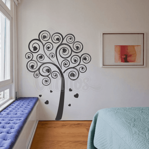 Vinilo decorativo para pared love tree arbol del amor for Vinilo pared habitacion