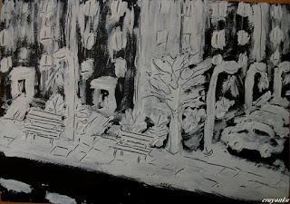 Zimowa noc namalowana pastą do zębów