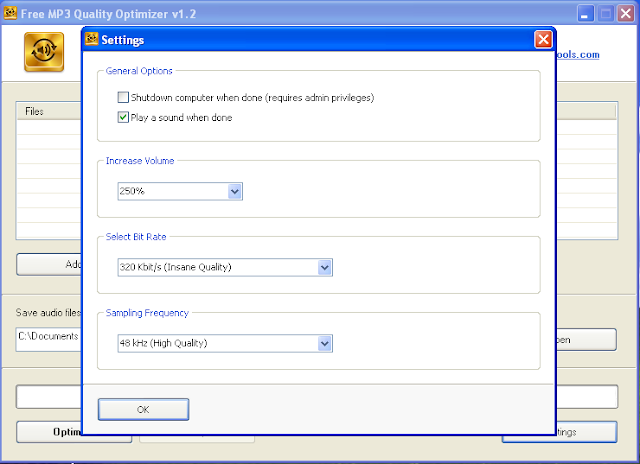 برنامج مجانى لتحسين جودة الملفات الصوتية MP3 وجعلها بجودة وحجم ستيريو Free MP3 Quality Optimizer-1-1