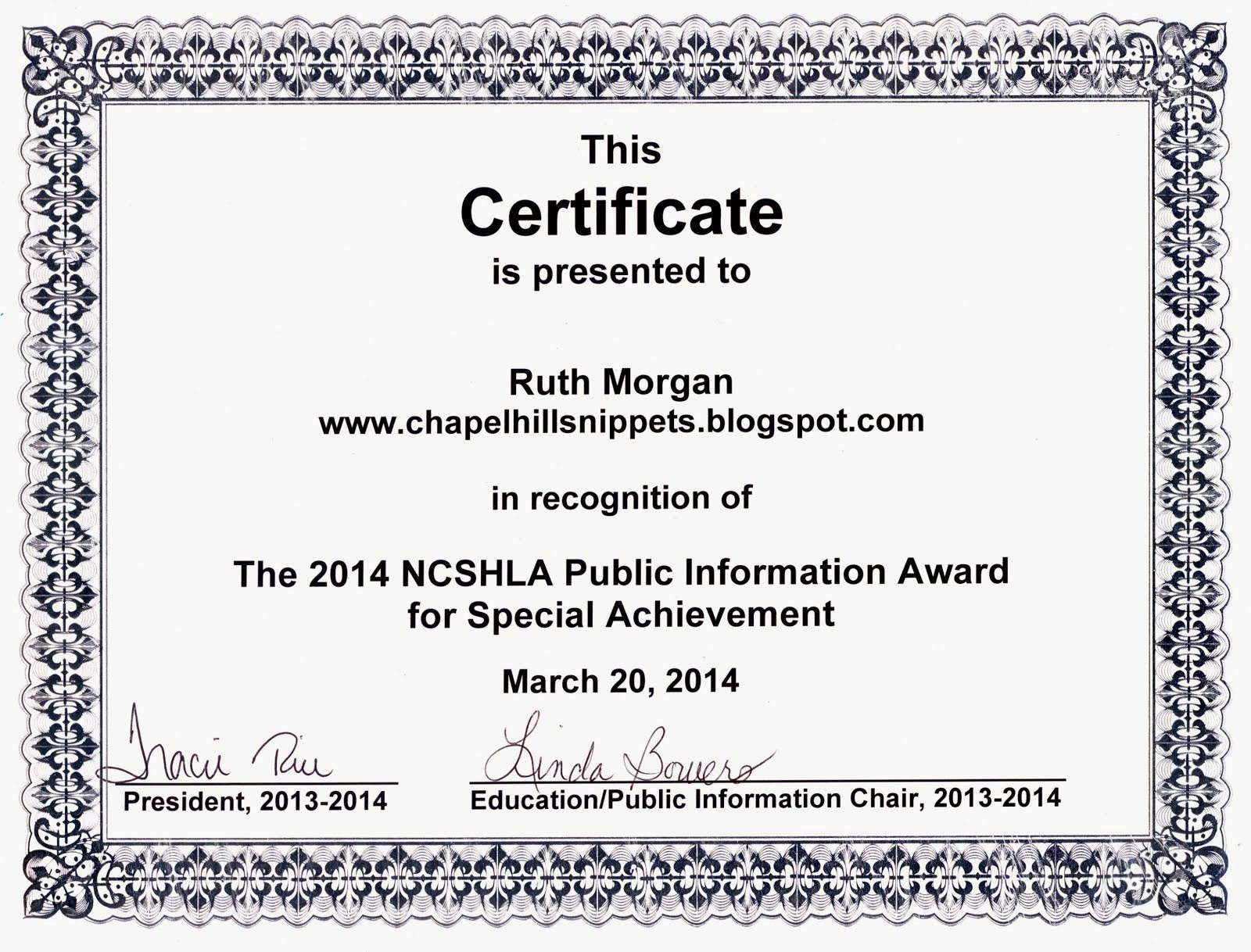 NCSHLA Award