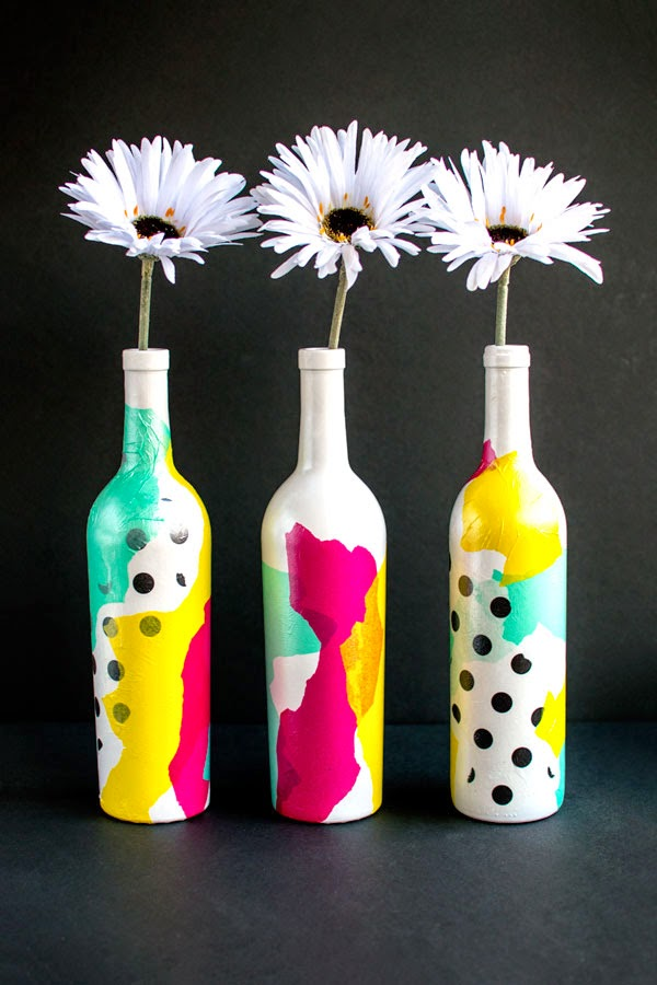 http://homemadehooplah.com/tissue-paper-bottle-art/