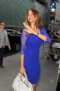 Sofia Vergara waves to fans and cameras in front of ABC Studios in NY