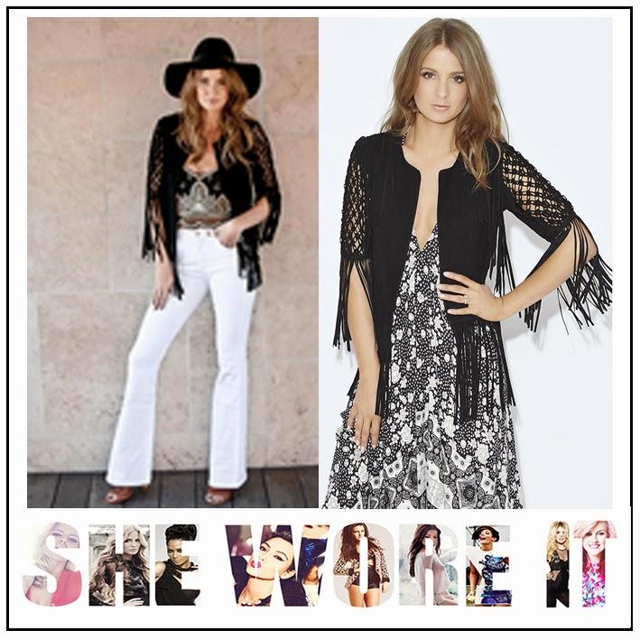 Black, By Millie Mackintosh, Celebrity Fashion, Fringing, Half Sleeve, Jacket, Knot Detail, Macrame, Millie Mackintosh, Panel, Sheer, Sleeve Detail, Suede Jacket, Tassel Detail,