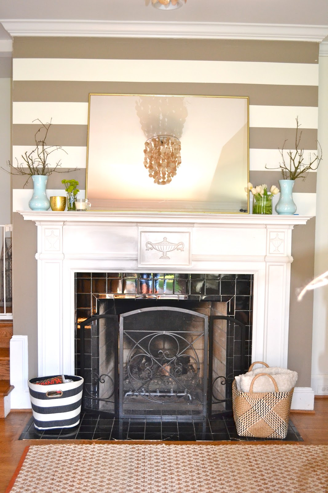 my new mantle (sticks, cheap flowers, a big mirror) - Design Post ...