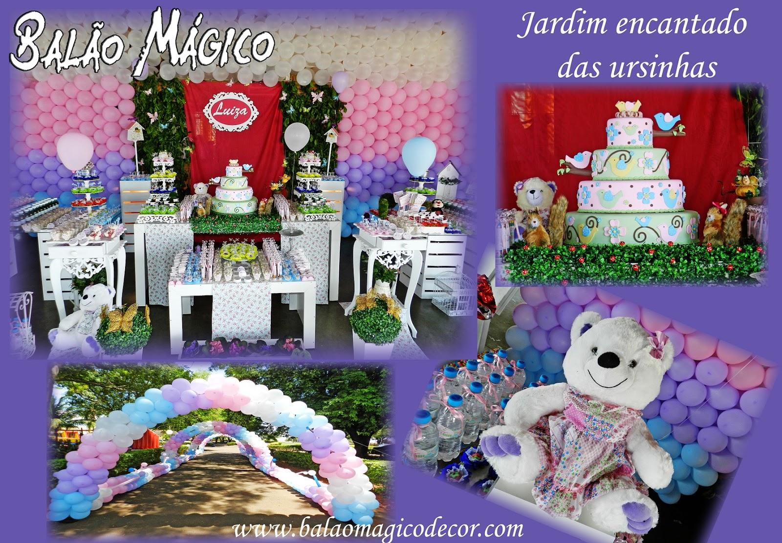 decoracao de balões jardim encantado:Agora nós somos FESTEIRAH! DECOR. : URSINHAS NO JARDIM ENCANTADO