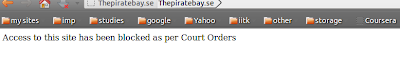 Message showning that thepiratebay.se has been blocked on the basis of court orders