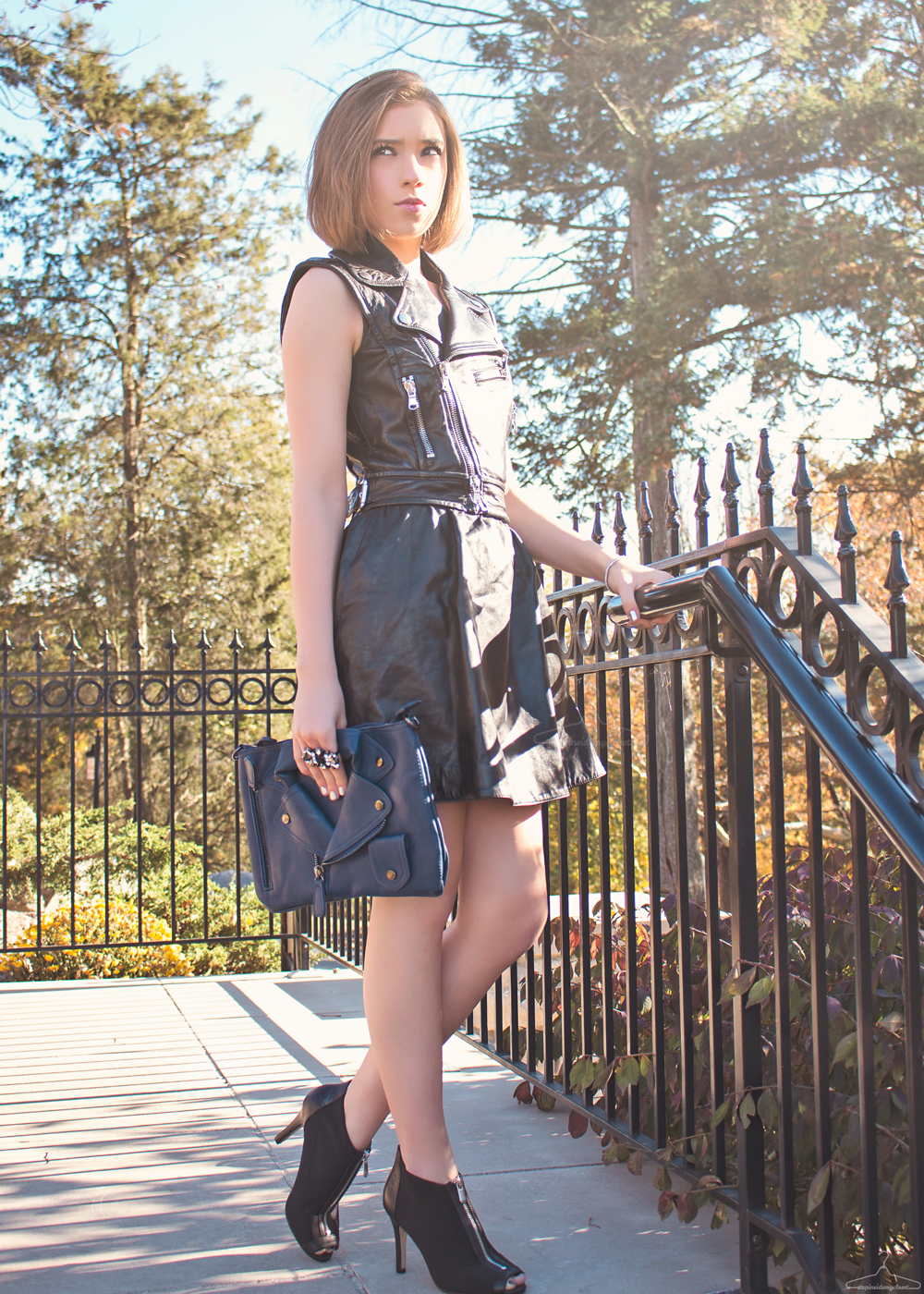 Step Inside My Closet - Black And Blue - Red Valentino, Adrienne Vittadini, The Shopping Bag, leather dress, biker jacket,