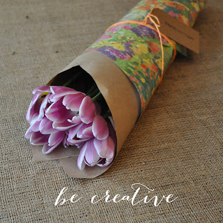 wrap flowers in wrapping paper tutorial on Creative Bag's blog