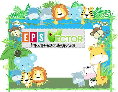 [Vector] - Baby animals frame