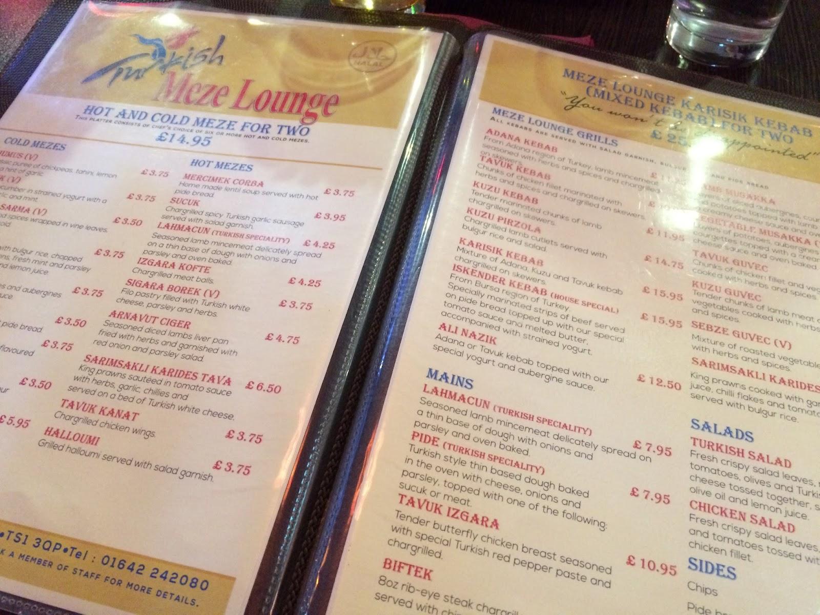 meze lounge middlesbrough menu