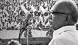 Lok Nayak Jaya Prakash Narayan addressing a meeting