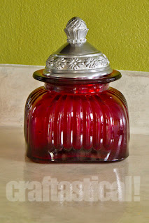 red glass jar, thrifted