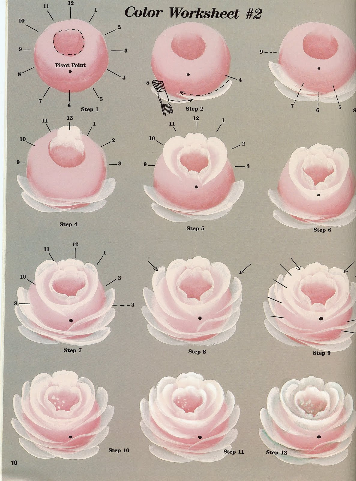 Craftinhouse tutorial folk art roses for How to paint a rose in watercolor step by step