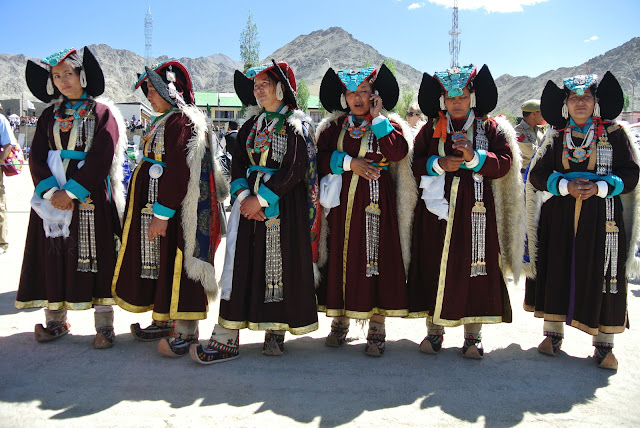Ladakhi women in traditional dress and ethnic jewelry