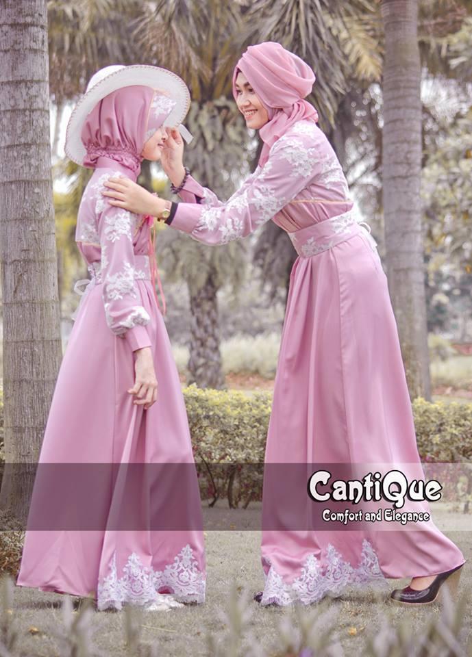 24 contoh model baju muslim brokat terbaru dan terbaik Baju gamis pesta kombinasi brokat