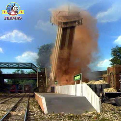 Great Discovery Thomas tank causing Stanley the train to crash into the water tower knocking it over