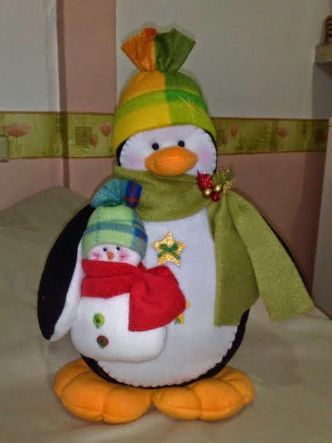 Moldes pinguim natalino de feltro