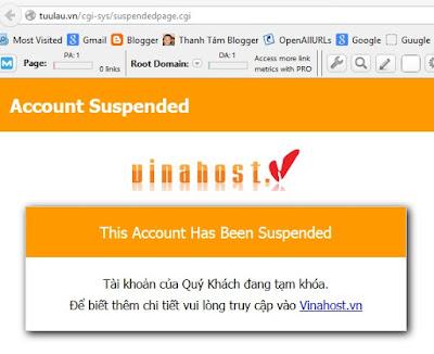 Vì sao tài khoản website tuulau.vn lại bị tạm khóa ?