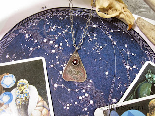 Illuminating Eye with Garnet Nickel Silver Planchette Necklace