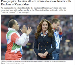 Catherine, Duchess of Cambridge during the medal ceremony for the Men's Discus a