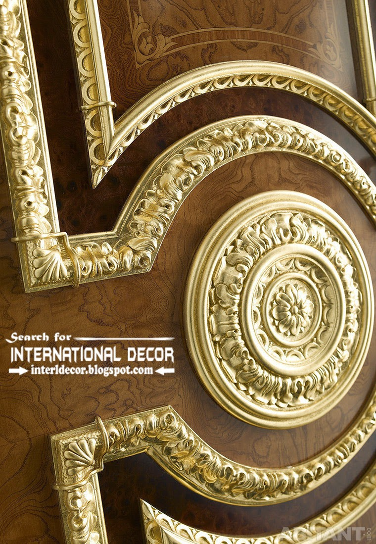 Luxury Interior Doors For Classic Interior, Italian Door Decorative Gold In  Empire Style