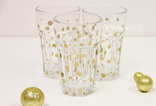 Silvesterdeko | goldene Konfetti-Gläser