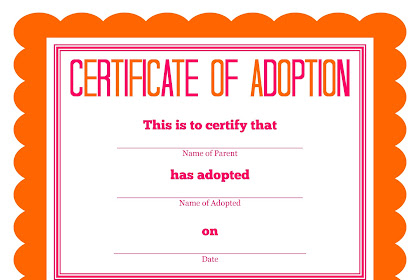 Adoption Certificate For Kids