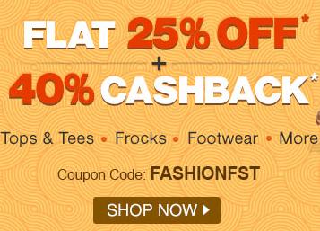 Firstcry: Apparel, Footwear & Fashion flat 25% off + 40 % cashback