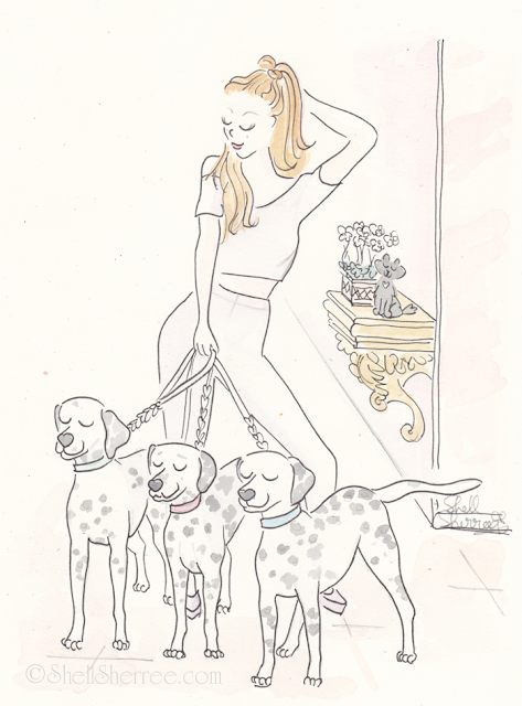 Fashion and fluffballs illustration :  Disco Dotty and the Dalmatians © Shell-Sherree