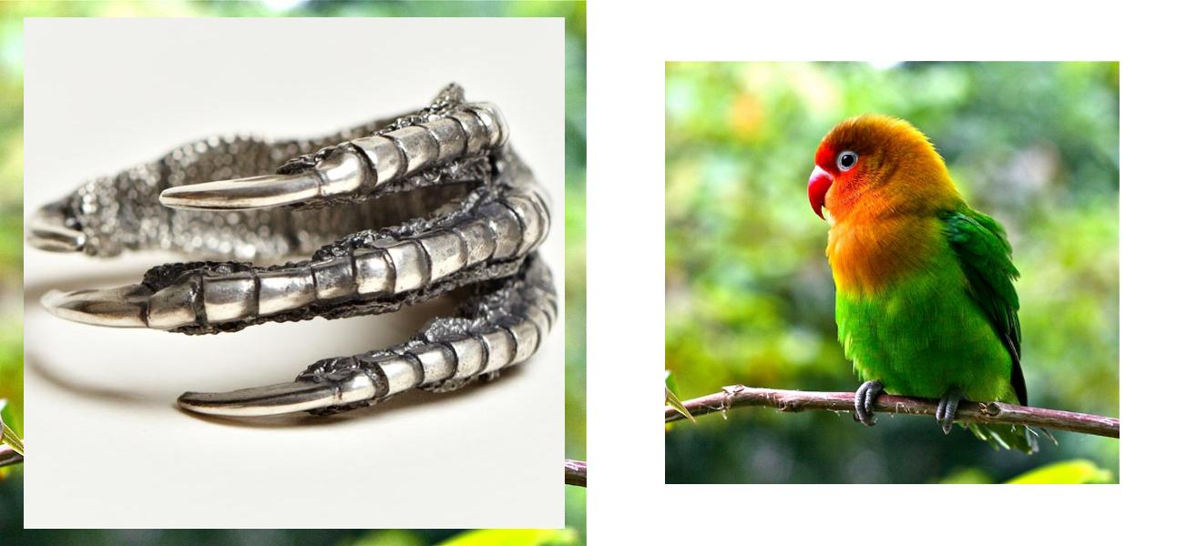Ann Demeulemeester bird claw ring with love bird