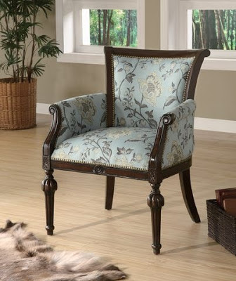 this first accent chair made of elegant wood and ornatefloral fabric