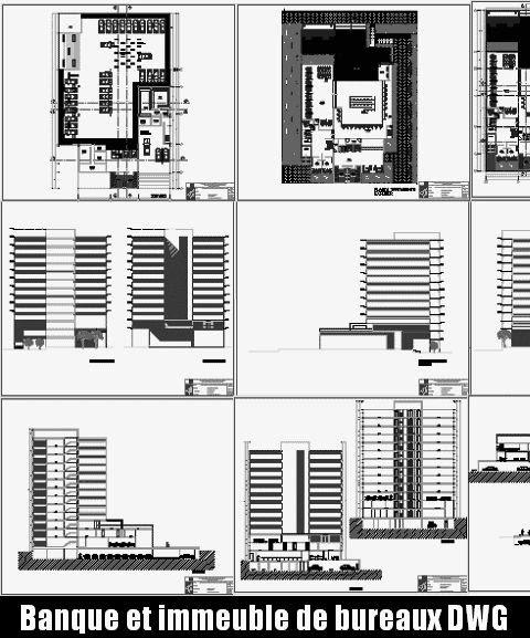 Si ge d 39 une banque et immeuble de bureaux fichier autocad for Immeuble bureau plan