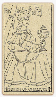 Queen of Chalices card - inked illustration - In the spirit of the Marseille tarot - minor arcana - design and illustration by Cesare Asaro - Curio & Co. (Curio and Co. OG - www.curioandco.com)