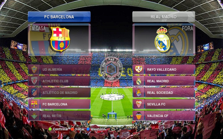 Menu do Barcelona para Pro Evolution Soccer 2014.